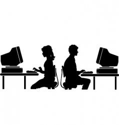 computer worker vector image