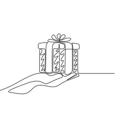 continuous one line drawing give a gift vector image