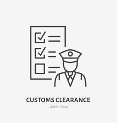 Customs clearance flat line icon policeman vector