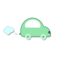 cut out fabric or paper chequered green retro car vector image