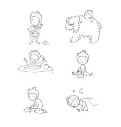 Cute cartoon baplaying with toys and a dog vector