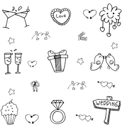 Cute wedding party doodle vector image