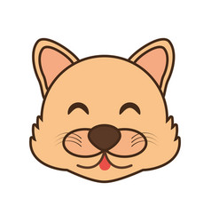 Cute wolf face kawaii style vector