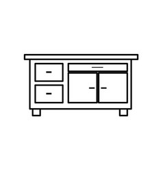 Desk furniture office work image line vector
