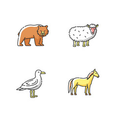 domestic and wild animals rgb color icons set vector image