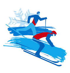 Downhill skier and cross-country skier vector