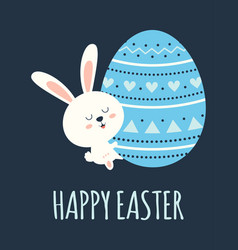 easter card with rabbit and egg vector image