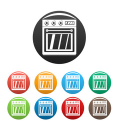 Electric oven icons set color vector