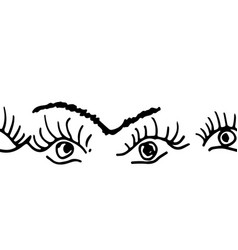 Eye and eyebrow ornament vector