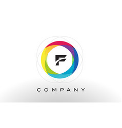 F letter logo with rainbow circle design vector