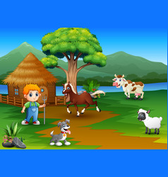 Farmers and animal farm with beautiful natural sce vector