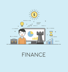 Finance strategy digital technologies charts and vector