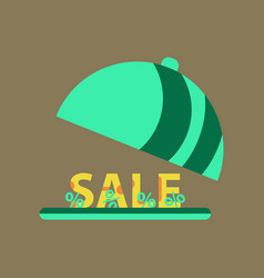 Flat icon of sale percent dish cover vector