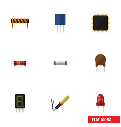 flat icon technology set of resistor cpu bobbin vector image