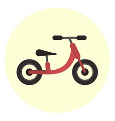 Flat red kids balance bike icon vector