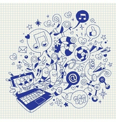 Fun laptop cartoon vector