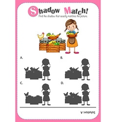 Game template with shadow matching farm products vector image