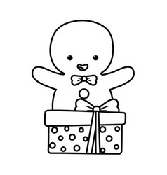 gingerbread man with gift decoration merry vector image