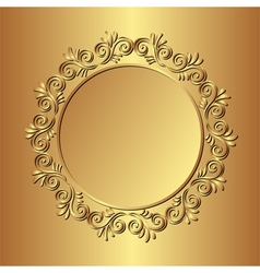 golden background with floral border vector image