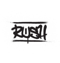 graffiti tag rush sprayed with leak in black vector image
