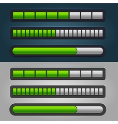 Green Striped Progress Bar Set vector