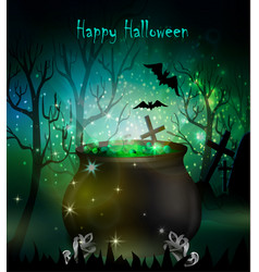 halloween witches cauldron vector image