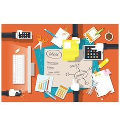 Hands of Office Worker and Supplies Stationery vector image