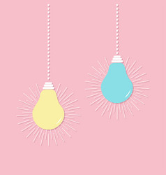 hanging light bulb icon set switch on off lamp vector image