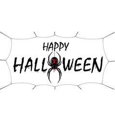 Happy halloween card drip text spider web vector