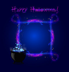 happy halloween neon glowing border frame with vector image