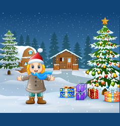 Happy kid wearing a winter clothes in christmas da vector