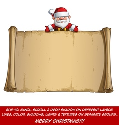 Happy Santa Scroll Empty Label Open Hands vector image