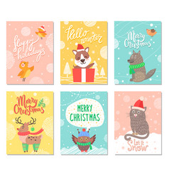 hello winter merry christmas vector image