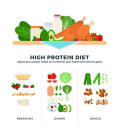 High protein diet in flat vector