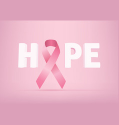 hope lettering design with pink ribbon vector image