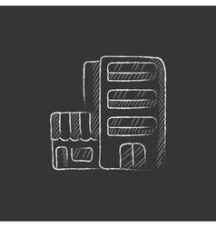 Hotel building drawn in chalk icon vector