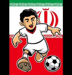 iran soccer player with flag background vector image