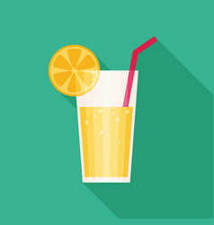 juice glass icon flat icon with long shadow vector image