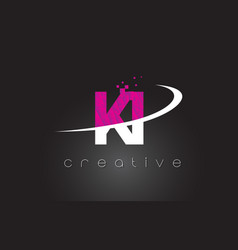 ki k i creative letters design with white pink vector image