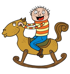 Kid and Rocking Horse vector image