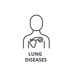Lung diseases thin line icon sign symbol vector