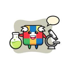 Mascot character rubik cube as a scientist vector