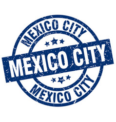 Mexico city blue round grunge stamp vector