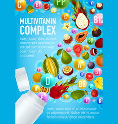 Multivitamin poster vitamin pill and fruits vector