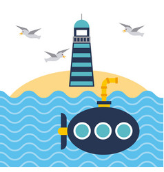 nautical lighthouse ocean and submarine beach vector image