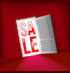 Open door for start sale concept vector