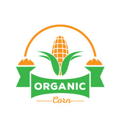 Organic corn logo with rock mountain vector
