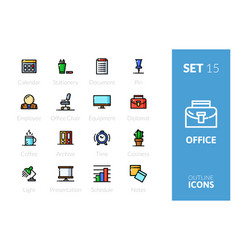 outline icons set in thin modern style vector image