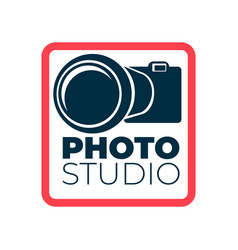 photo studio logotype with camera and frame icon vector image