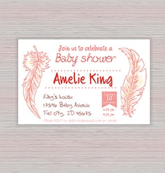 Printable hand drawn of baby shower invitation vector